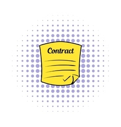 Business contract icon comics style vector