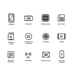 Mobile device components icon set vector