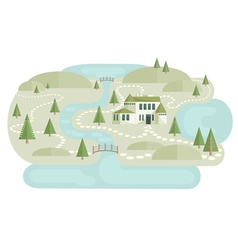 Alone Villa In Landscape vector image