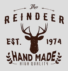 Authentic hipster logotype with reindeer and vector image vector image