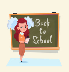 Back to school small girl standing over class vector