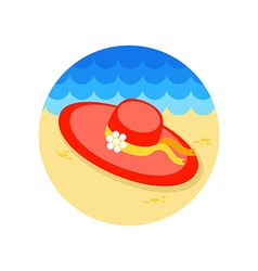 Beach hat icon Summer Vacation vector image vector image