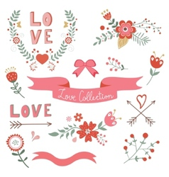Beautiful love elements collection vector