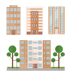 buildings facades set flat style vector image