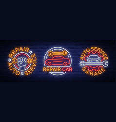 car service repairs a set of logos a neon vector image