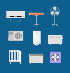 cartoon heating devices color icons set vector image