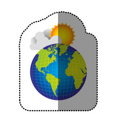 color earth planet with cloud and sun vector image