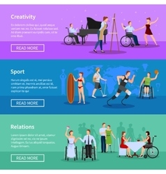 Disabled people 3 horizontal banners composition vector