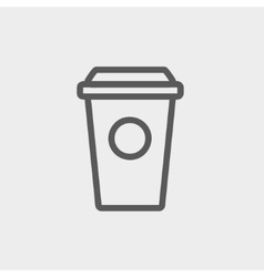 Disposable coffee cup thin line icon vector image