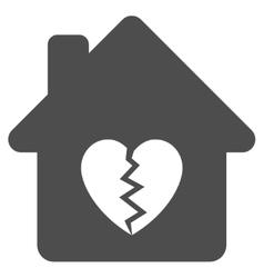 Divorce house heart flat icon vector