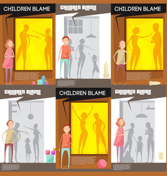 Domestic altercation posters set vector