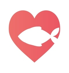 Fish heart food cat pet vector