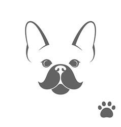 French bulldog funny dog with paw print vector
