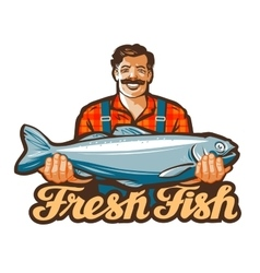 Fresh fish logo fishing angling or vector