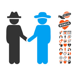Gentleman handshake icon with love bonus vector
