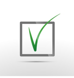 Green check mark in box conceptual icon of vector