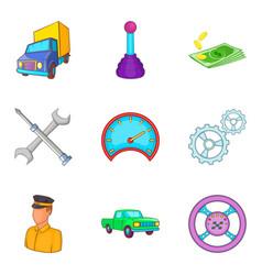 Hauler icons set cartoon style vector