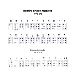 Hebrew Alphabet Braille The font for blind people vector image