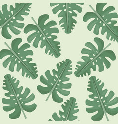 Monstera leaves jungle seamless pattern vector