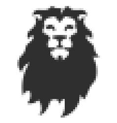 Pixel head of lion in vector