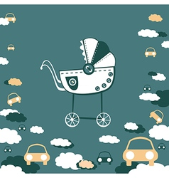 pram and clouds vector image