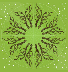 round ornament with deer antlers on green vector image vector image