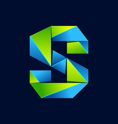 S letter line colorful logo Abstract trendy green vector image