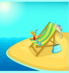 Sea rest concept lounge cartoon style vector