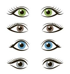 Set of cartoon eyes isolated on white background vector image