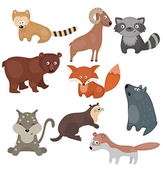 Set of different animals of north america vector image vector image