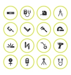 Set round icons of measuring tools vector image