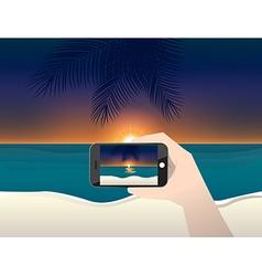 Travel photo sunset on beach vector