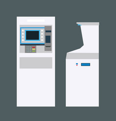 white atm bank cash machine with isolated vector image
