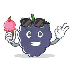 With ice cream blackberry character cartoon style vector