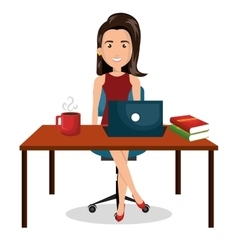 Cartoon businesswoman office work desktop graphic vector