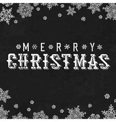 Merry Christmas Vintage Postcard Snowflake border vector image