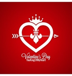 Valentines Day Vintage Concept On Red Background vector image