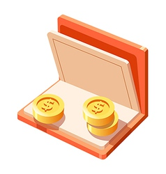 Icon bankbook and money vector