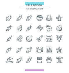 Fish and seafood thin icons vector
