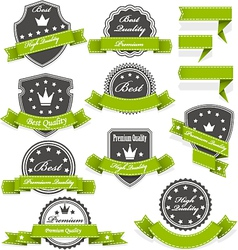 Seals and medals with ribbons vector