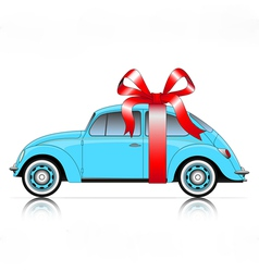Compact blue car with ribbon vector