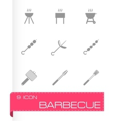 Black barbecue icon set vector