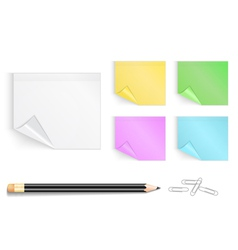 Colorful stickers with pencil and paper clips vector