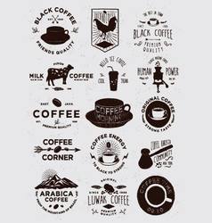 15 coffee vintage badges vector