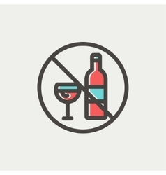 No alcohol sign thin line icon vector