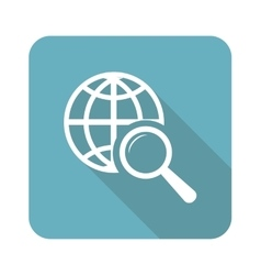 Square global search icon vector