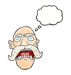 Cartoon angry old man with thought bubble vector