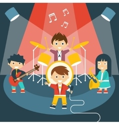 Four kids in a music band vector