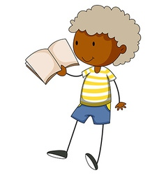 Little boy reading a book vector