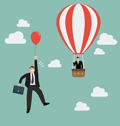 Businessman in hot air balloon fly pass vector